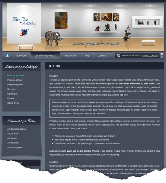 Site E-Commerce page de texte