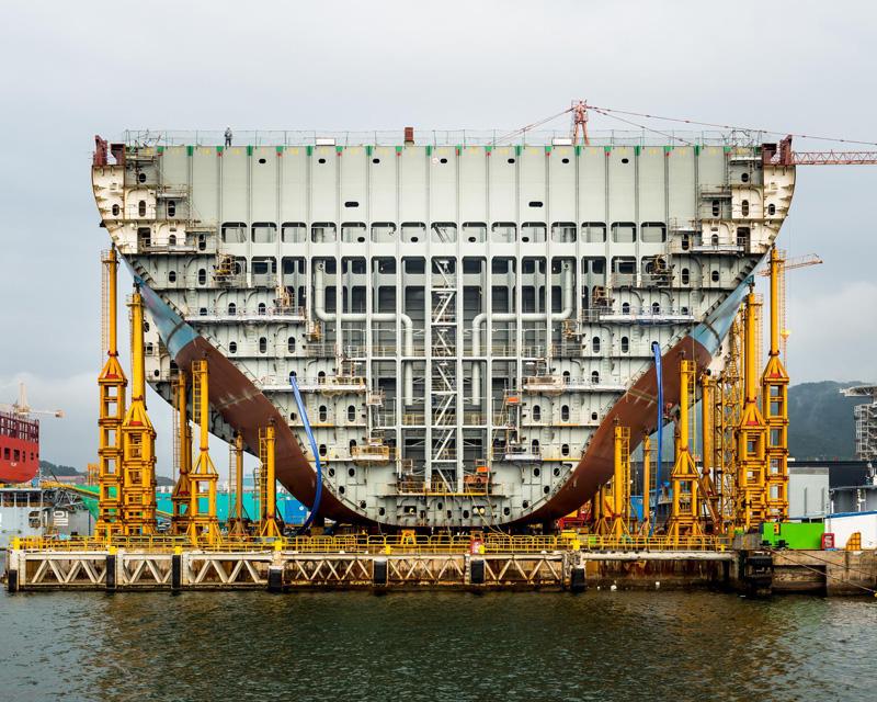 Porte-conteneurs Maersk Triple E en construction;  Daewoo Shipbuilding & Marine Engineering, Corée du Sud © Alastair Philip Wiper